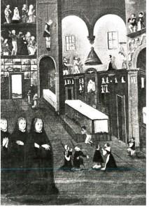 """Ausschnitt aus dem Bild """"Maria (Ward) hat Anno 1624 seiner eminenz dem Cardinal di Trebo die schnelle genesung von einem sehr gefehrlichen fieber durch eine wallfahrth und funff stundirgeb gebett, so sie fur ihme vor der wunderthatigen Mutter Gotteb auf dem berg gionino verricht, erhalten"""". Das Bild gehort zu einem Zyklus von 50 Gemalden, die sich im Institut der Englischen Fraulein in Augsburg befinden und offensichtlich treue Kopien eines Zyklus aus dem 3. Viertel des 17. Jh. sind. Augsburg 1. Halfte 18. Jh. (?) bilder und Zeichen Nr. 324, S. 123f."""